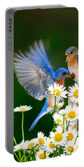 Bluebirds And Daisies Portable Battery Charger