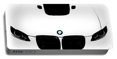 Portable Battery Charger featuring the digital art Bmw White by J Anthony