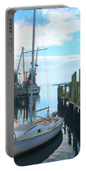 Boat At Dock By Jan Marvin Portable Battery Charger