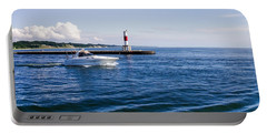 Portable Battery Charger featuring the photograph Boat At Holland Pier by Lars Lentz