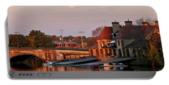 Boat Houses At Dawn Portable Battery Charger by Kenny Glotfelty