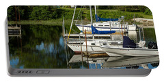 Boat Reflections In Cape Cod Hen Cove Portable Battery Charger by Eleanor Abramson