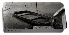 Boat In Ice - Lake Wingra - Madison - Wi Portable Battery Charger