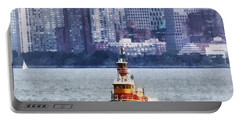 Boat - Tugboat By Manhattan Skyline Portable Battery Charger