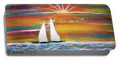 Boats At Sunset Portable Battery Charger