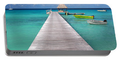 Boats At The Jetty In A Tropical Turquoise Lagoon Portable Battery Charger