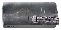 Boats Between Water And Fog Portable Battery Charger