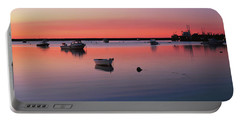 Boats In An Ocean At Sunset Portable Battery Charger
