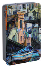 Portable Battery Charger featuring the painting Boats In Front Of The Buildings I  by Xueling Zou