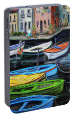 Portable Battery Charger featuring the painting Boats In Front Of The Buildings II by Xueling Zou