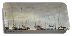 Portable Battery Charger featuring the photograph Boats In Harbor Reflection by Peter v Quenter