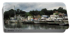 Boats On A Cloudy Day Essex Ct Portable Battery Charger by Susan Savad