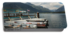 Boats On Lake Mcdonald Portable Battery Charger by Nina Prommer
