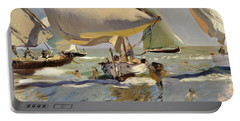Boats On The Shore Portable Battery Charger
