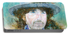 Bob Dylan Oil Portrait Portable Battery Charger by Fabrizio Cassetta