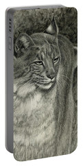 Portable Battery Charger featuring the drawing Bobcat Emerging by Sandra LaFaut