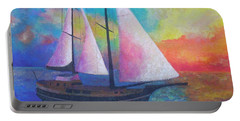 Portable Battery Charger featuring the painting Bodrum Gulet Cruise by Tracey Harrington-Simpson