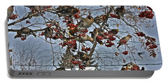 Bohemian Waxwing Feast Portable Battery Charger