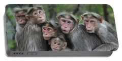Bonnet Macaques Huddling Western Ghats Portable Battery Charger