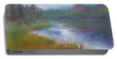 Bonnie Lake - Alaska Misty Landscape Portable Battery Charger