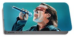 Bono Of U2 Painting Portable Battery Charger by Paul Meijering