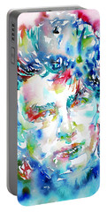 Bono Watercolor Portrait.1 Portable Battery Charger by Fabrizio Cassetta