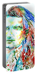 Bono Watercolor Portrait.2 Portable Battery Charger by Fabrizio Cassetta