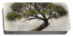 Portable Battery Charger featuring the painting Bonsai Cedar by Randy Wollenmann