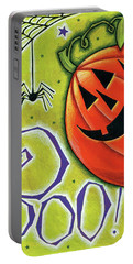 Boo Pumpkin And Spider Portable Battery Charger by Anne Tavoletti