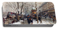 Bookstalls In Winter Paris Portable Battery Charger