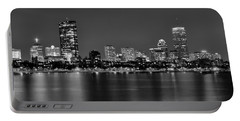 Boston Back Bay Skyline At Night Black And White Bw Panorama Portable Battery Charger