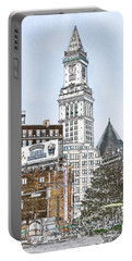 Boston Custom House Tower Portable Battery Charger by Fred Larson