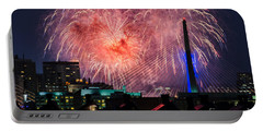 Portable Battery Charger featuring the photograph Boston Fireworks 1 by Mike Ste Marie