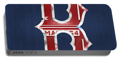 Boston Red Sox Logo Letter B Baseball Team Vintage License Plate Art Portable Battery Charger by Design Turnpike