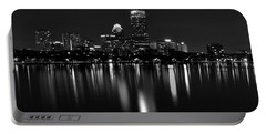 Boston Skyline By Night - Black And White Portable Battery Charger
