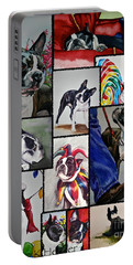 Boston Terrier Watercolor Collage Portable Battery Charger