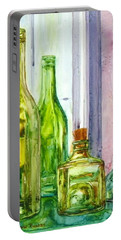 Bottles - Shades Of Green Portable Battery Charger by Anna Ruzsan