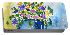 Bouquet Of Flowers In A Vase Portable Battery Charger