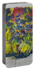 Portable Battery Charger featuring the painting Bouquet With Blue Flowers by Avonelle Kelsey