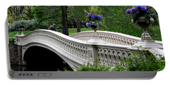 Bow Bridge Flower Pots - Central Park N Y C Portable Battery Charger