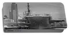 Bow Of The Uss Midway Museum Cv 41 Aircraft Carrier - Black And White Portable Battery Charger by Claudia Ellis