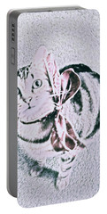 Portable Battery Charger featuring the digital art Bow Tie Kitty by Lisa Brandel
