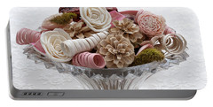 Bowl Of Potpourri On Lace Portable Battery Charger