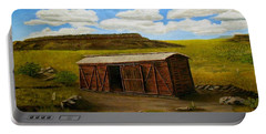 Portable Battery Charger featuring the painting Boxcar On The Plains by Sheri Keith