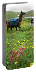 Boy Hiking With Llamas, Highland Mary Portable Battery Charger