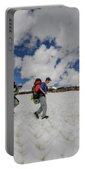 Boys Cross Snow Fields And Streams Portable Battery Charger