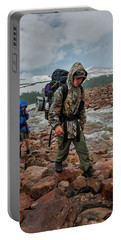 Boys Hike Along The Rocky Shore Portable Battery Charger