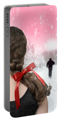 Braided Hair With Red Ribbon Portable Battery Charger
