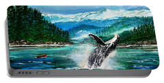 Breaching Humpback Whale Portable Battery Charger by Patricia L Davidson
