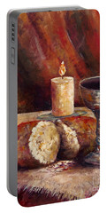 Portable Battery Charger featuring the painting Bread And Wine by Lou Ann Bagnall